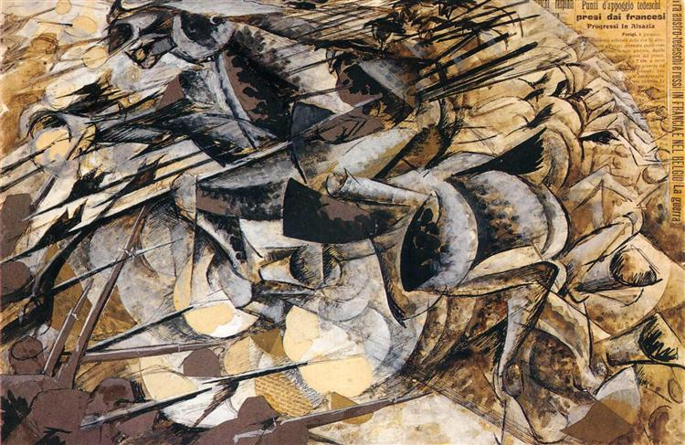 the charge of the lancers 1915 umberto boccioni wikiart org