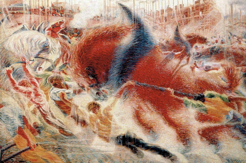 Resultado de imagem para Beast-machines; The City Rises, by Umberto Boccioni 1910. MOMA