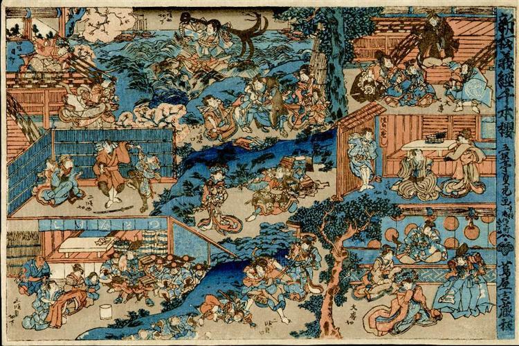 Vista general del kabuki jugar Yoshitsune Senbon Zakura (Yoshitsune y los miles de cerezos) - Utagawa Sadatora