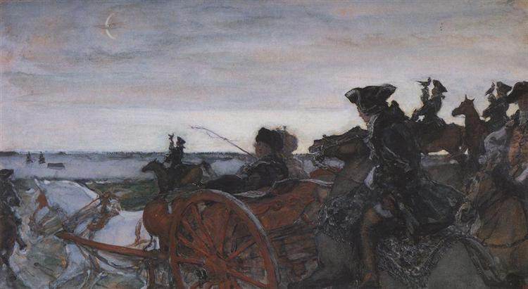 Catherine II Setting out to Hunt with Falcons, 1902 - Valentin Serov