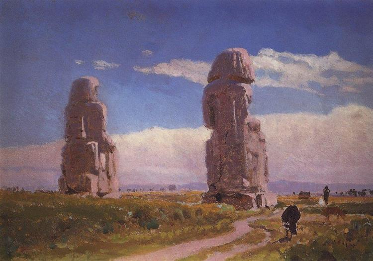 Colossuses Memnon (Statue of Amenhotep III) - Vasily Polenov