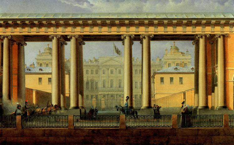 View of the Anichkov Palace from the Fontanka River - Vasily Sadovnikov