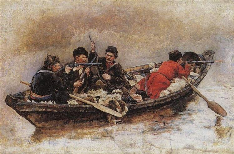"Cossacks in boat (Study to ""The Conquest of Siberia by Yermak"") - Vasily Surikov"