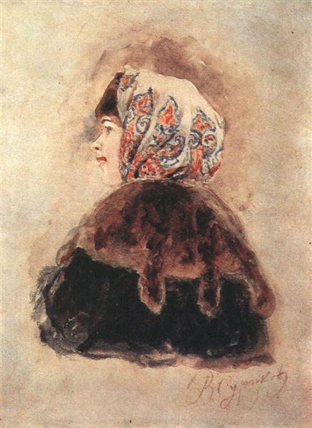 Head of young lady, 1890 - Vasily Surikov
