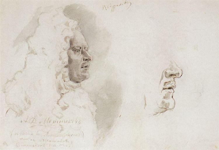 Menshikov's head in profile, 1882 - Vasily Surikov