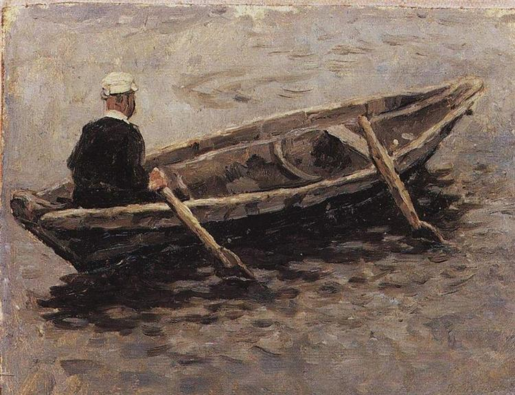 "On boat (Study to ""The Conquest of Siberia by Yermak"") - Vasily Surikov"
