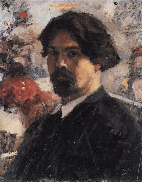 """Self-Portrait against the background of picture """"The Conquest of Siberia by Yermak"""", 1894 - Vasily Surikov"""