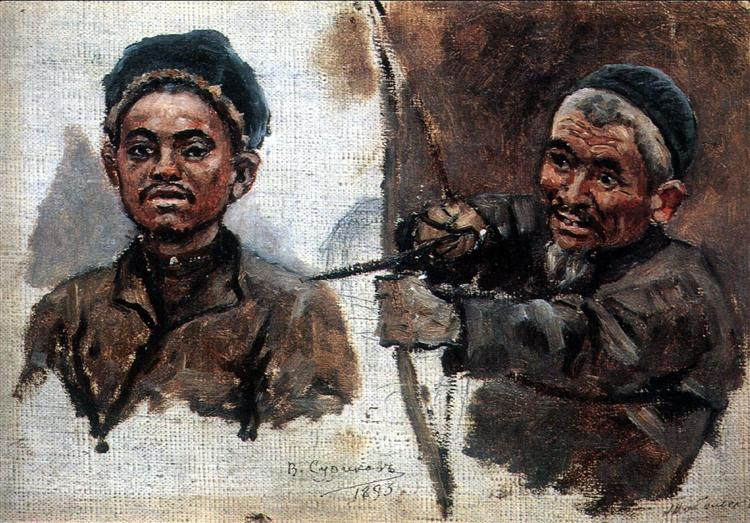 Tatar's heads (old and young), 1893 - Vasily Surikov