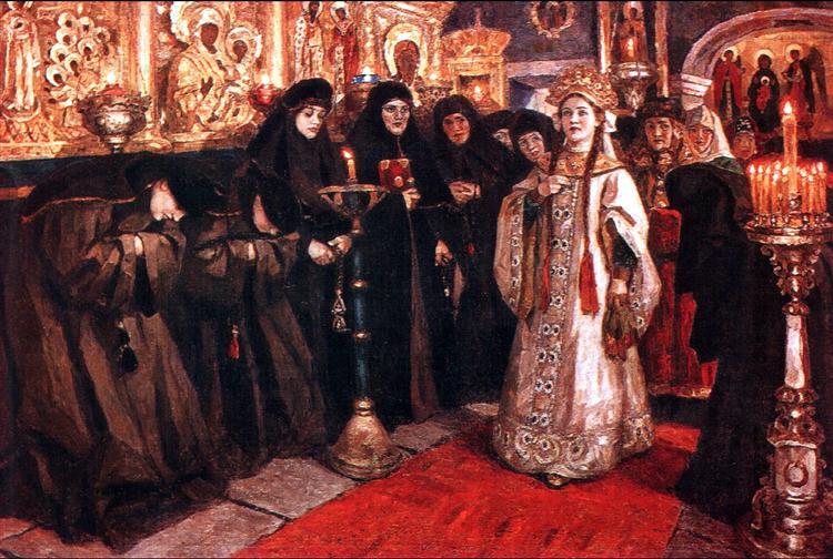Tsarevna's visit of nunnery, 1912 - Vasily Surikov
