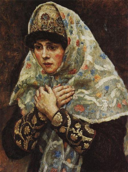 "Young lady with his arms folded (Study to ""Boyarynya Morozova"") - Vasily Surikov"