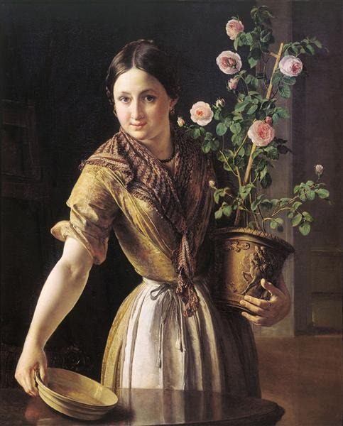 A girl with a pot of roses, 1850 - Vasily Tropinin