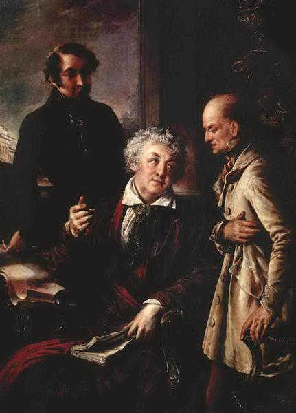 Portrait of Fedor Semenovich Moslov with Employees of Stud Farm, c.1830 - Vasily Tropinin