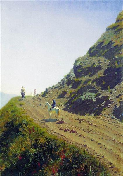 Nomadic road in the mountains of Ala Tau, 1869 - 1870 - Vasily Vasilievich Verechagine