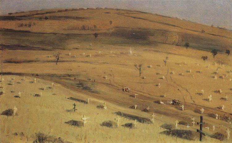 Site of the Battle Fought on July 18, 1877 in front of the Krishin Redoubt near Plevna, 1877 - 1880 - Vasily Vereshchagin