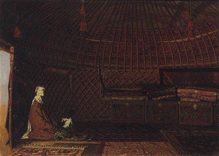 The interior of the yurt of rich Kirghiz, 1869 - 1870 - Vasily Vereshchagin