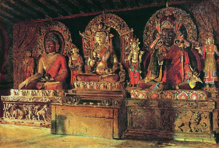 The three main gods in a Chingacheling Buddhist monastery in Sikkim, 1875 - Vasily Vereshchagin