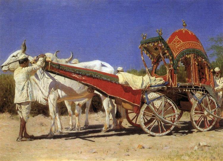 Vehicle of rich people in Delhi, 1875 - Vasily Vereshchagin