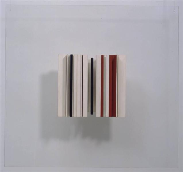 Relief Construction in White, Black and Maroon - Victor Pasmore