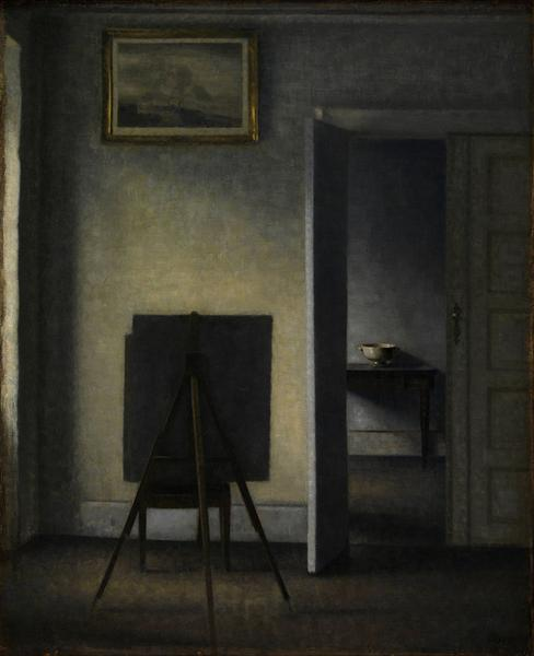 Interior with the Artist's Easel, 1910 - Vilhelm Hammershoi