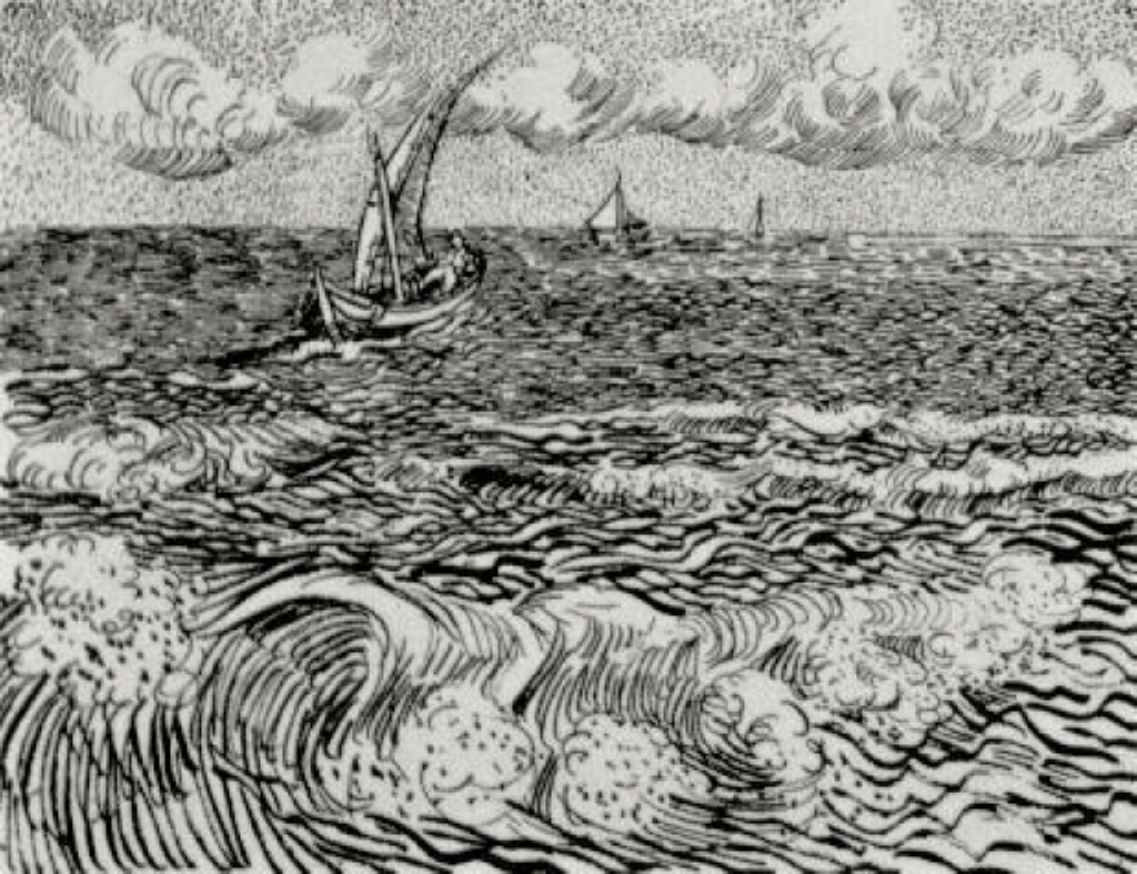 Line Drawing Van : A fishing boat at sea vincent van gogh wikiart