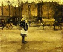 A Girl in the Street, Two Coaches in the Background - Vincent van Gogh