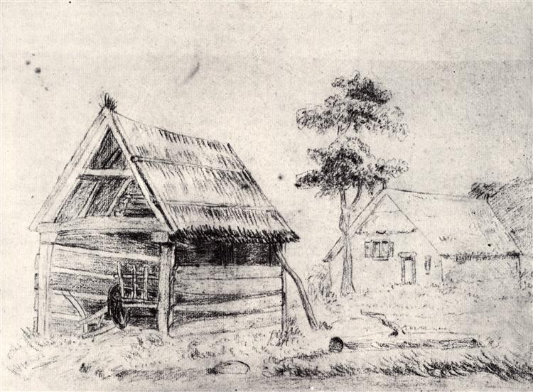 Barn and Farmhouse, 1864 - Vincent van Gogh