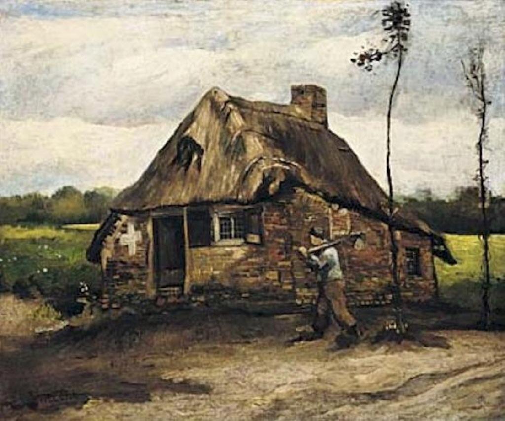 Cottage with peasant coming home 1885 vincent van gogh - Casitas de campo ...