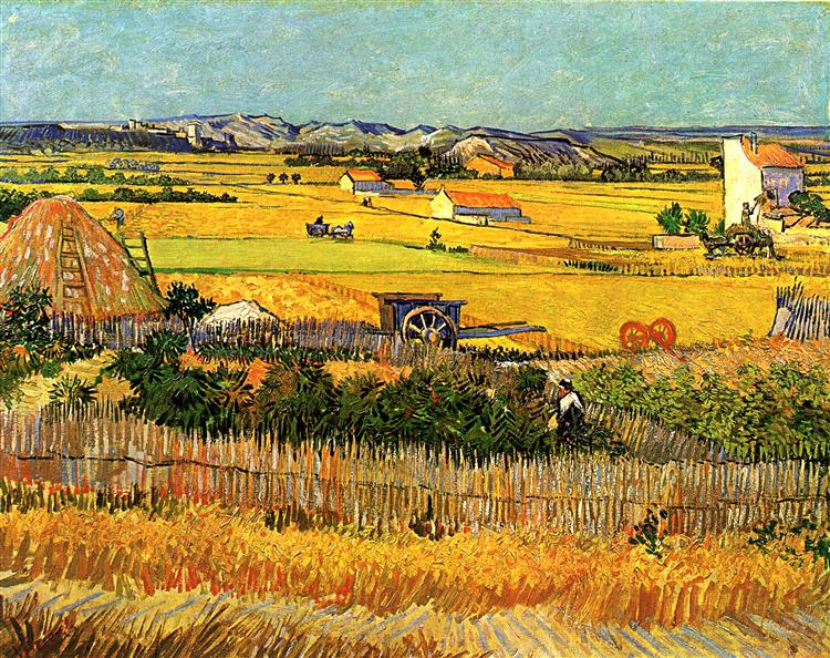 Harvest at La Crau, with Montmajour in the Background, 1888 - Vincent van Gogh