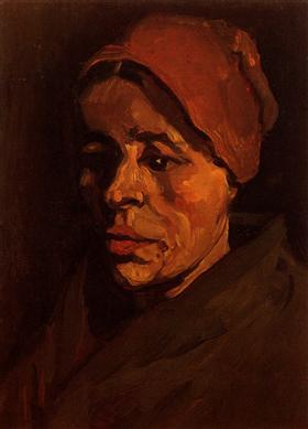 Cabeza de una mujer campesina con el casquillo pardusco, Vincent van Gogh