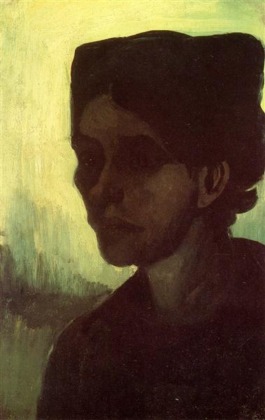 Head of a Young Peasant Woman with Dark Cap, 1885 - Vincent van Gogh