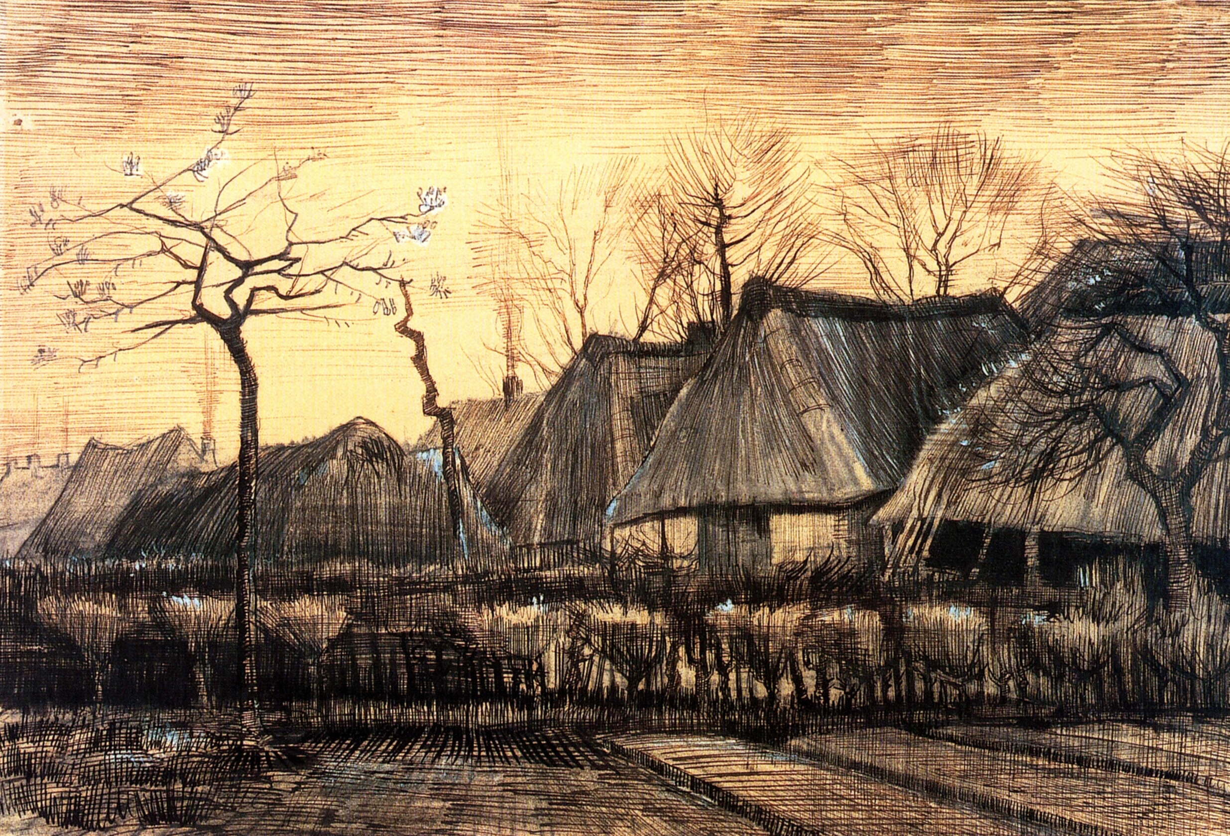 Houses With Thatched Roofs 1884 Vincent Van Gogh
