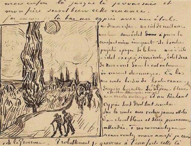 Road with Men Walking, Carriage, Cypress, Star, and Crescent Moon, 1890 - Vincent van Gogh