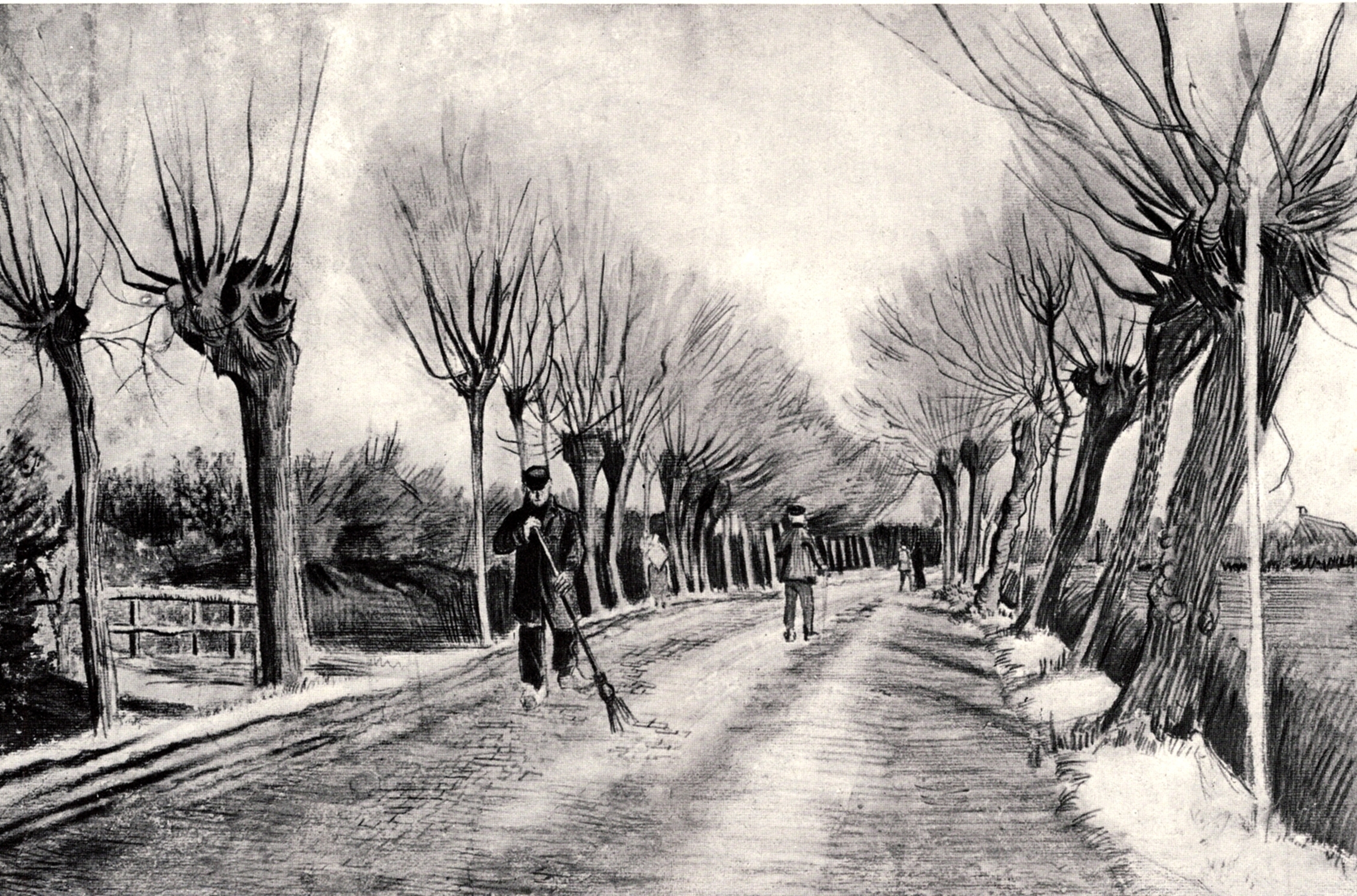 Road with Pollard Willows and Man with Broom, 1881
