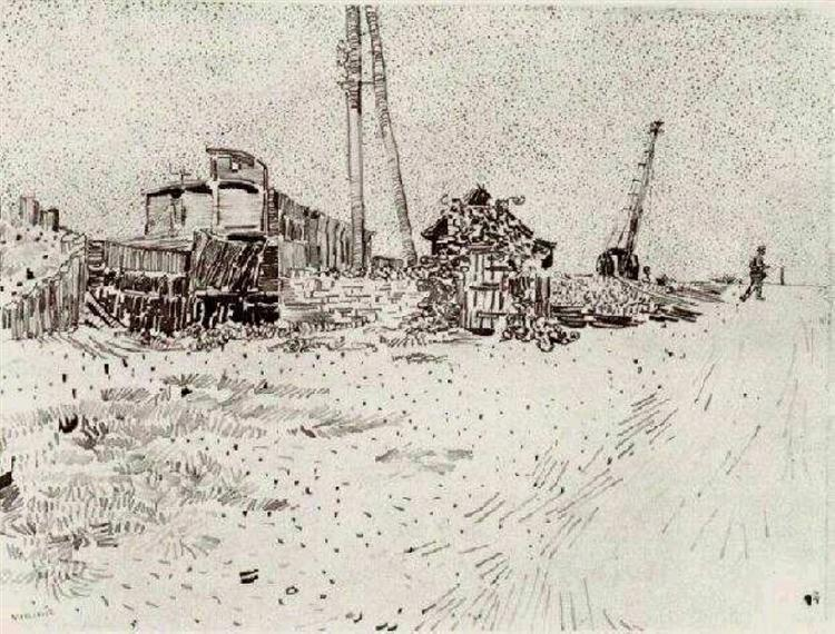 Road with Telegraph Pole and Crane, 1888 - Vincent van Gogh