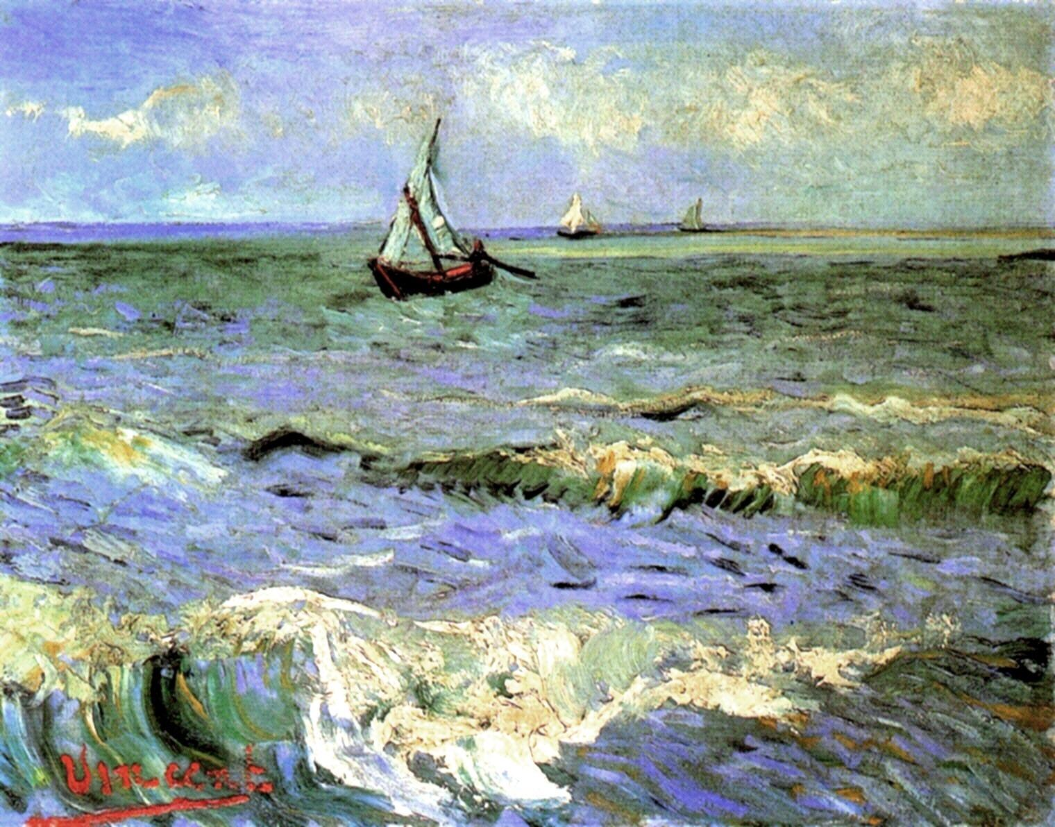 Seascape at saintes maries 1888 vincent van gogh for Disegno paesaggio marino