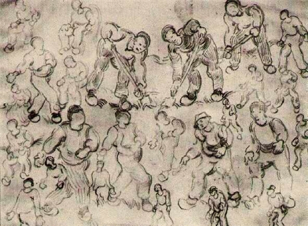 sheet with numerous figure sketches 1890 vincent van