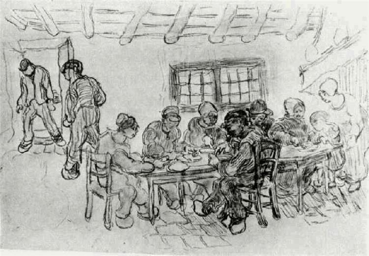 Sheet with Two Groups of Peasants at a Meal, 1890 - Vincent van Gogh