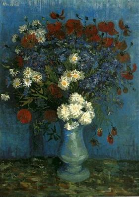 Todavía vida: Florero con los Cornflowers y amapolas, Vincent van Gogh