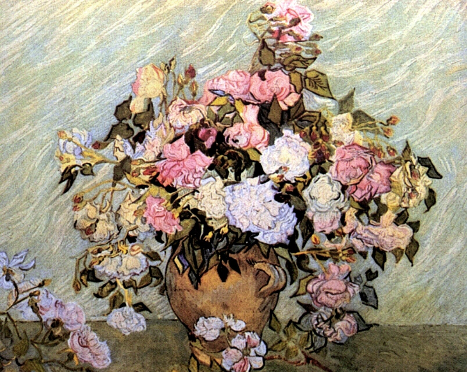 Still Life Vase with Roses 1890 Vincent van Gogh WikiArt