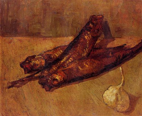 Still Life with Bloaters and Garlic - Vincent van Gogh