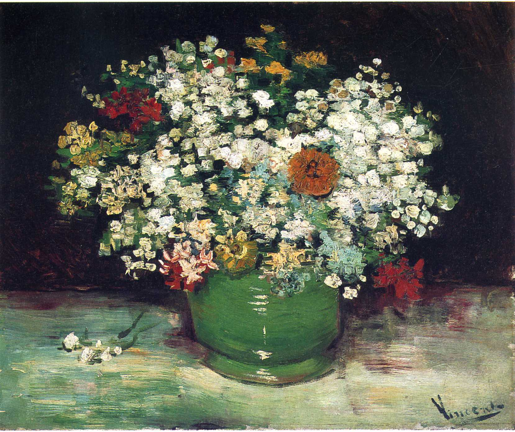 Vase with Zinnias and Other Flowers 1886 Vincent van Gogh WikiArt