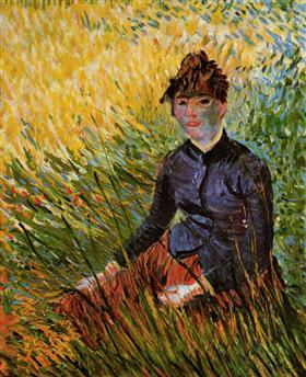 Mujer que se sienta en la hierba, Vincent van Gogh