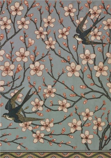 Almond Blossom and Swallow (Wallpaper Design) - Walter Crane