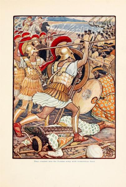 They crashed into Persian army with tremendous force - Walter Crane