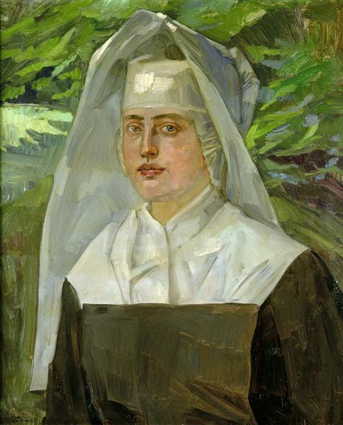 Bildnis einer Ordensschwester in einem sommerlichen Garten - Wilhelm Trubner