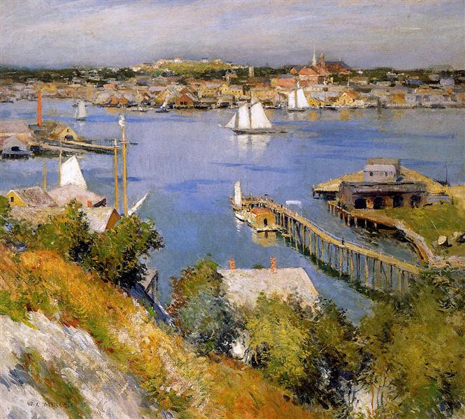 Gloucester harbour Sun - Willard Metcalf