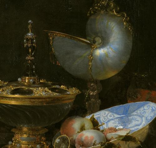 Still Life with Holbein Bowl, Nautilus Cup, Glass Goblet and Fruit Dish (detail) - Willem Kalf