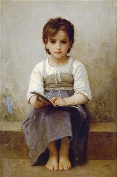 The hard lesson - Bouguereau William-Adolphe