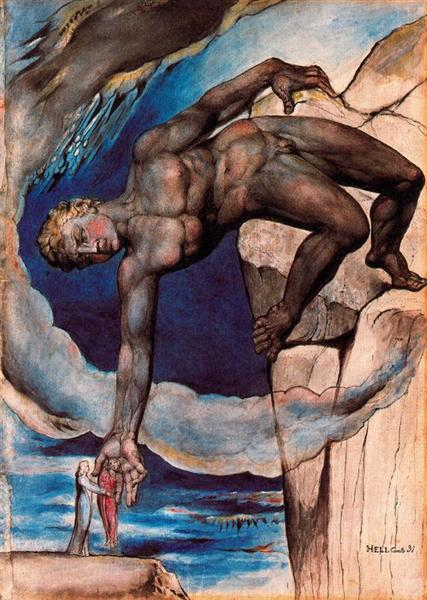 Antaeus setting down Dante and Virgil in the last circle of hell, 1824 - 1827 - William Blake
