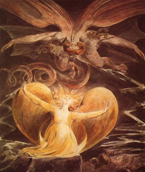 The Great Red Dragon and the Woman clothed with the sun, 1805 - 1810 - William Blake